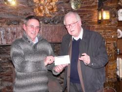 Ken Wood presents a cheque to Colin Platt
